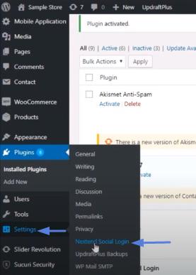 dashboard>settings>nextend social login