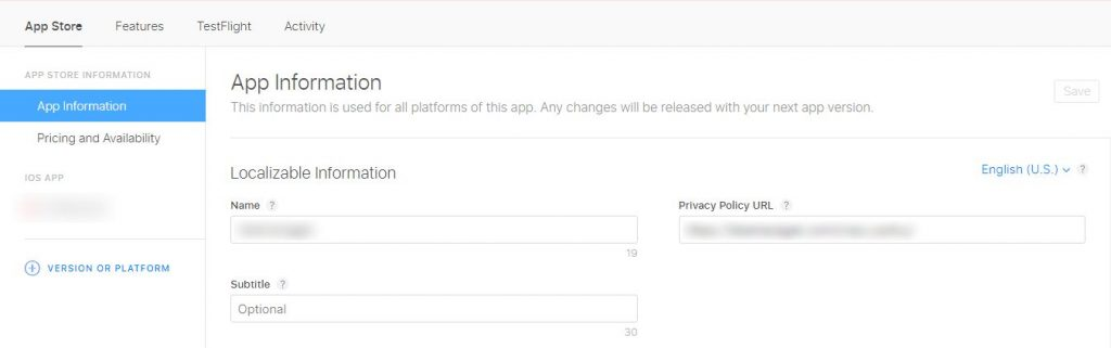 Enter your App name and privacy policy URL