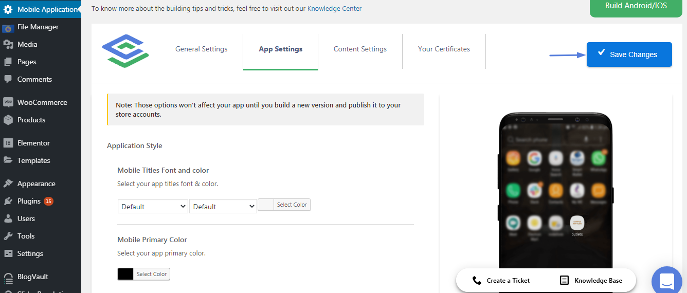the app setting tab inside the mobile application tab