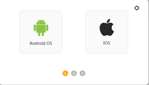 Choose the android icon to build an android mobile application