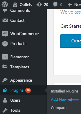 hover the plugins section in your dashboard and click add new