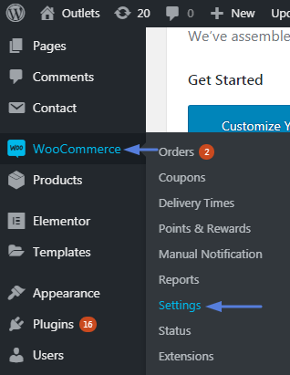 hover over the Woocommerce tab and select settings